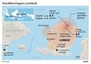 De epicentra van de aardbevingen op Lombok.