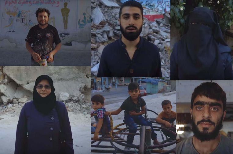 """""""On All Fronts"""" van de Syrische rapper werd al meer dan 32.000 keer bekeken en wordt wereldwijd besproken. In beeld 60 Syriërs die recht in de lens staren."""