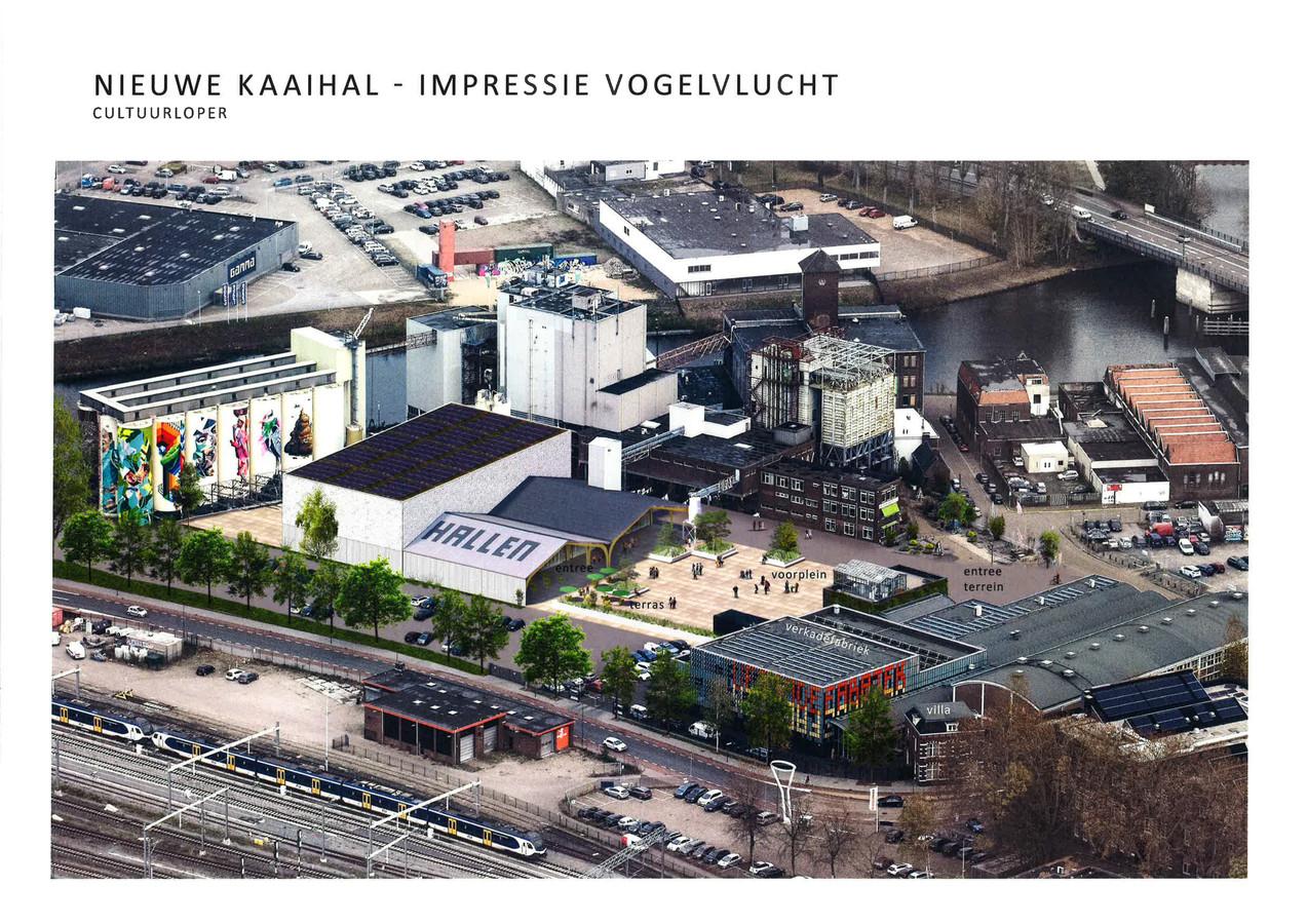 Plan voor de nieuwe Kaaihal aan de Tramkade. Maar voor hoeveel jaar?