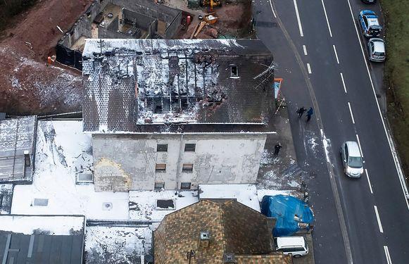 Het uitgebrande appartement in het Duitse Lambrecht.
