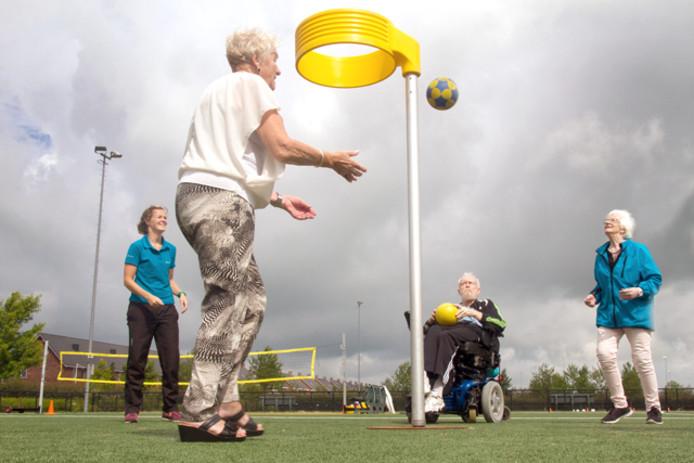 Senioren aan het sporten .