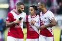 Oussama Tannane (l), Othmane Boussaid (m) en Sean Klaiber (r) in het shirt van FC Utrecht.