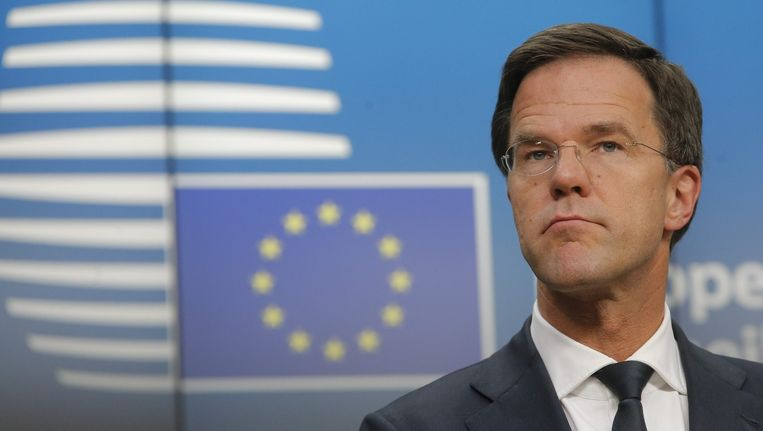 Minister-president Rutte bij de EU-top in Brussel. Beeld epa