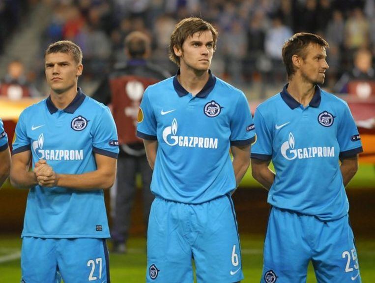 Semak (rechts) aan de zijde van Nicolas Lombaerts als speler bij Zenit.