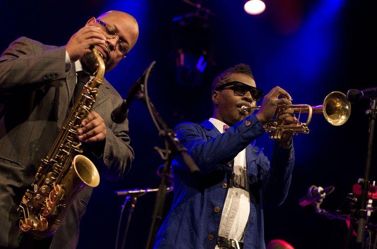 Roy Hargrove (rechts) en Justin Robinson tijdens het North Sea Jazz festival 2013. Beeld ANP