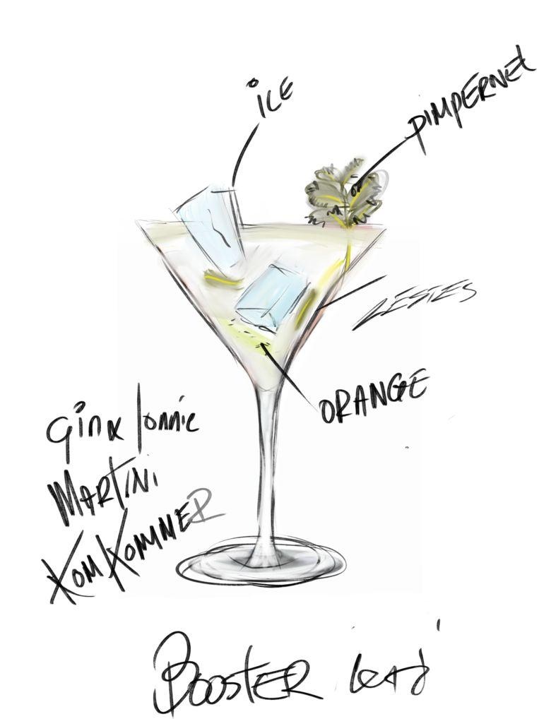 De 'gin en jonnie' met komkommer, sinaasappel en pimpernel. Beeld Jonnie Boer / De Librije