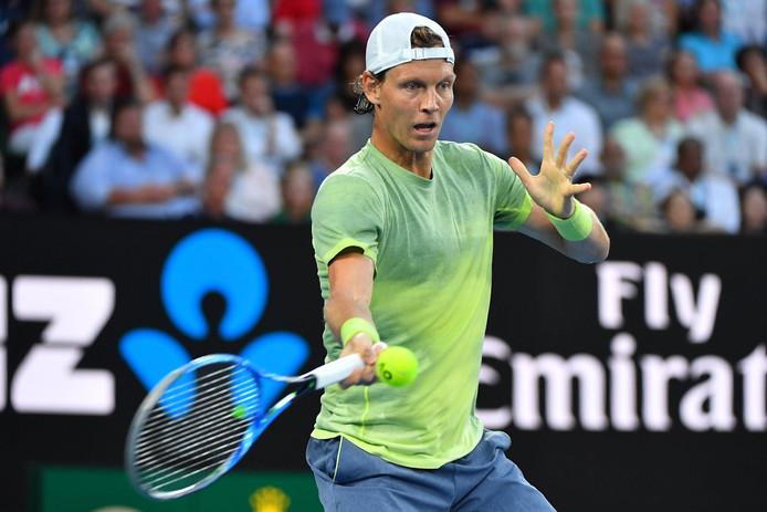 Tomas Berdych in actie tijdens de Australian Open.
