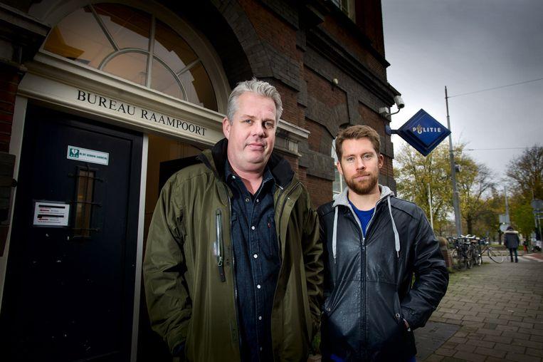 Thomas Acda (links) speelt rechercheur Peter van Opperdoes, Tim Haars zijn ambitieuze collega Jacob Holm. Beeld Klaas Fopma
