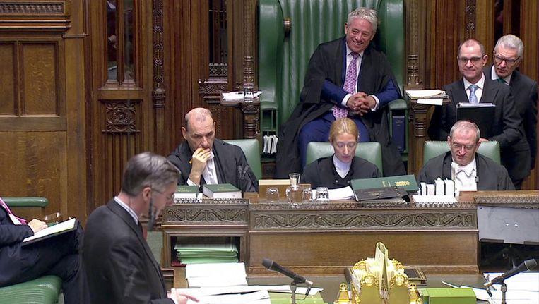 Speaker of the House of Commons John Bercow in actie tijdens een debat. Beeld Reuters