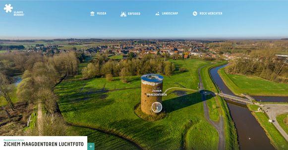 Je kan virtueel een bezoekje brengen doorheen Vlaams-Brabant zoals hier in Zichem, vervolgens kan je ook binnenkijken in de Maagdentoren.