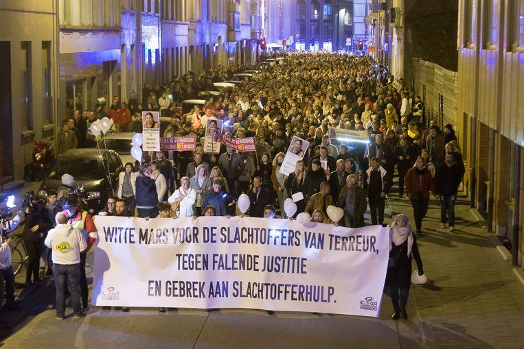 Archiefbeeld van een mars in Aalst in november voor de slachtoffers van de Bende van Nijvel.