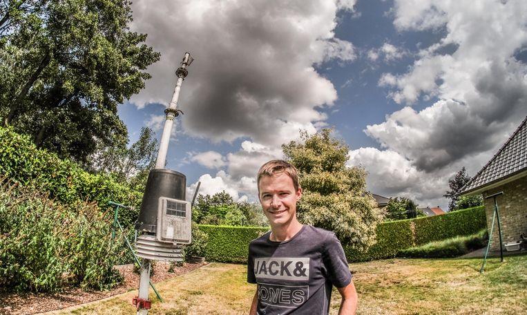 Het weerstation staat in een private tuin, vlakbij Sport Vlaanderen Waregem.