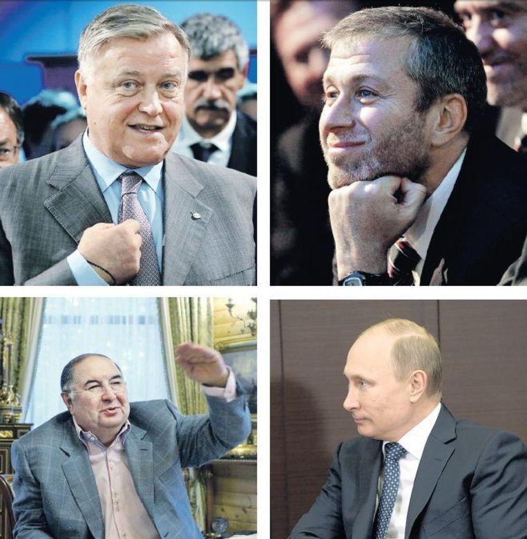 Met de klok mee vanaf links onder: Alisjer Oesmanov, Vladimir Jakoenin, Roman Abramovitsj en Vladimir Poetin. De Russische zakenelite is loyaal aan Moskou, maar hun belangen zijn verweven met het Westen. Beeld EPA, AP en Reuters