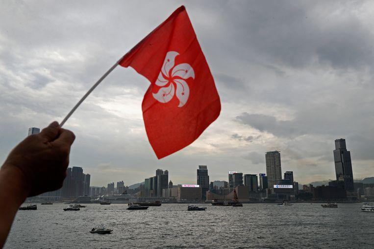 De vlag van Hongkong met op de achtergrond de haven.