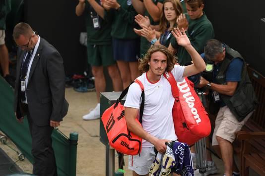 Stefanos Tsitsipas , ooit deelnemer aan de Windmill Cup, nu op Wimbledon.