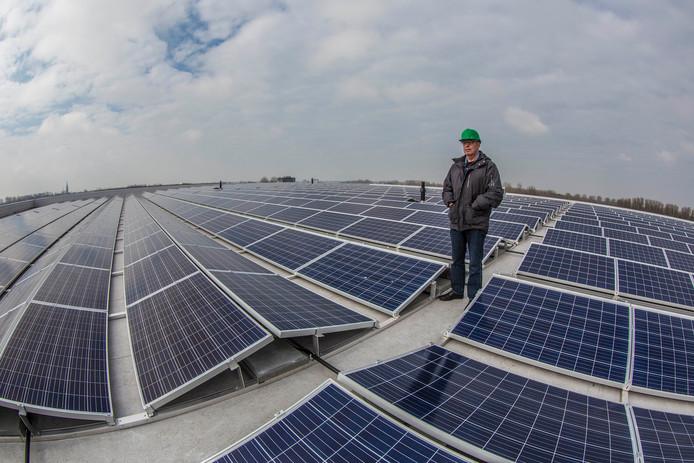 Op het dak van Food Centre Westland op het ABC-terrein in Poeldijk liggen duizenden zonnepanelen.