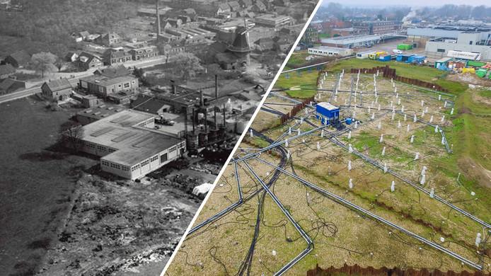 Het Olasfa-terrein,  in de jaren 60 en recent.