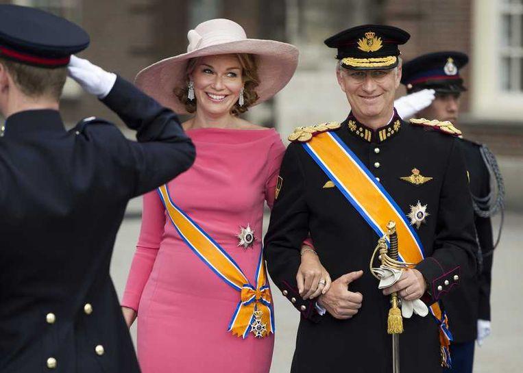Filip en Mathilde bij de inhuldiging van koning Willem-Alexander. Beeld anp