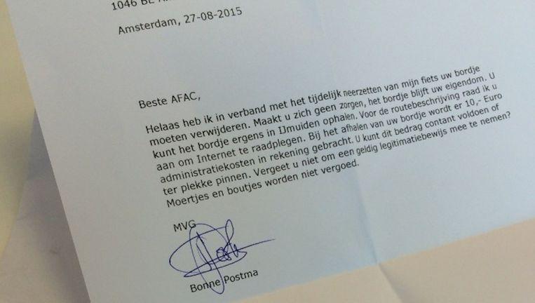 De brief die Bonne Postma stuurde aan de AFAC. Beeld Bonne Postma