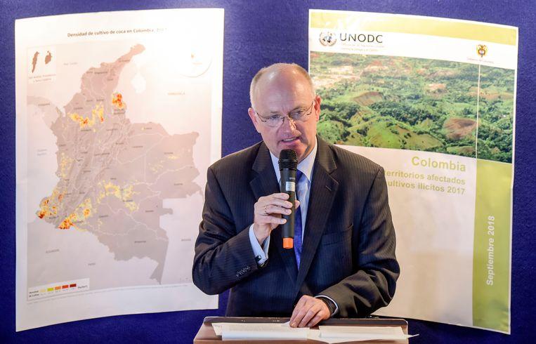 Bo Mathiasen van het VN-bureau ter bestrijding van Drugs en Misdaad tijdens een perconferentie over de recordcijfers.