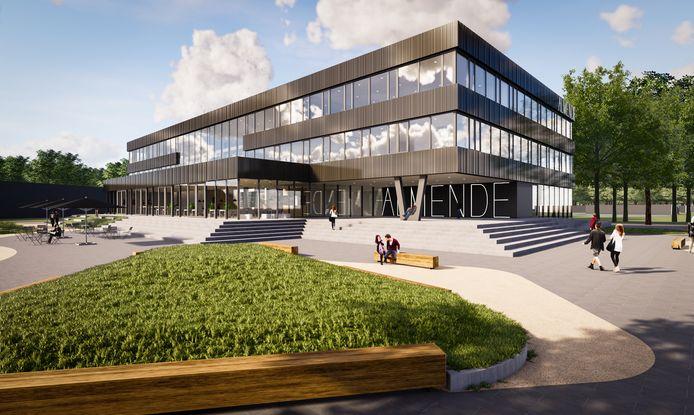 Vooraanzicht van het nieuwe Almende College in aanbouw in Silvolde.
