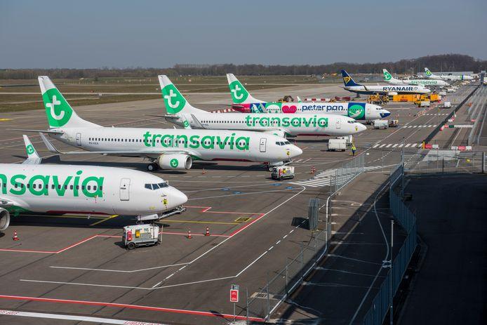 De vloot van Transavia op Eindhoven Airport staat al maandenlang aan de grond.