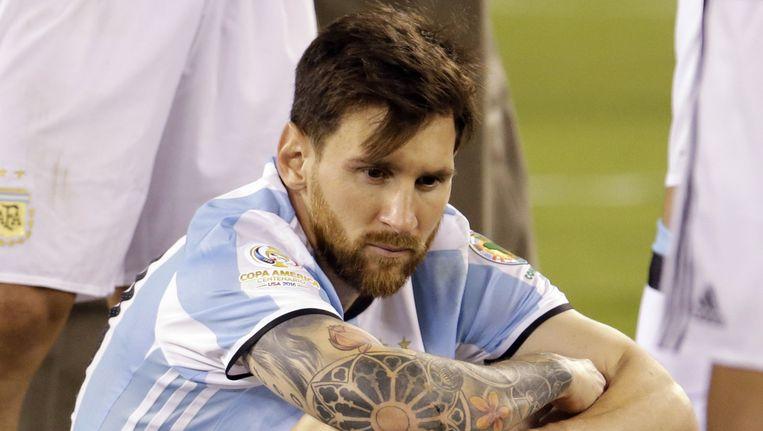 Lionel Messi na de wedstrijd tegen Chili. Beeld ap