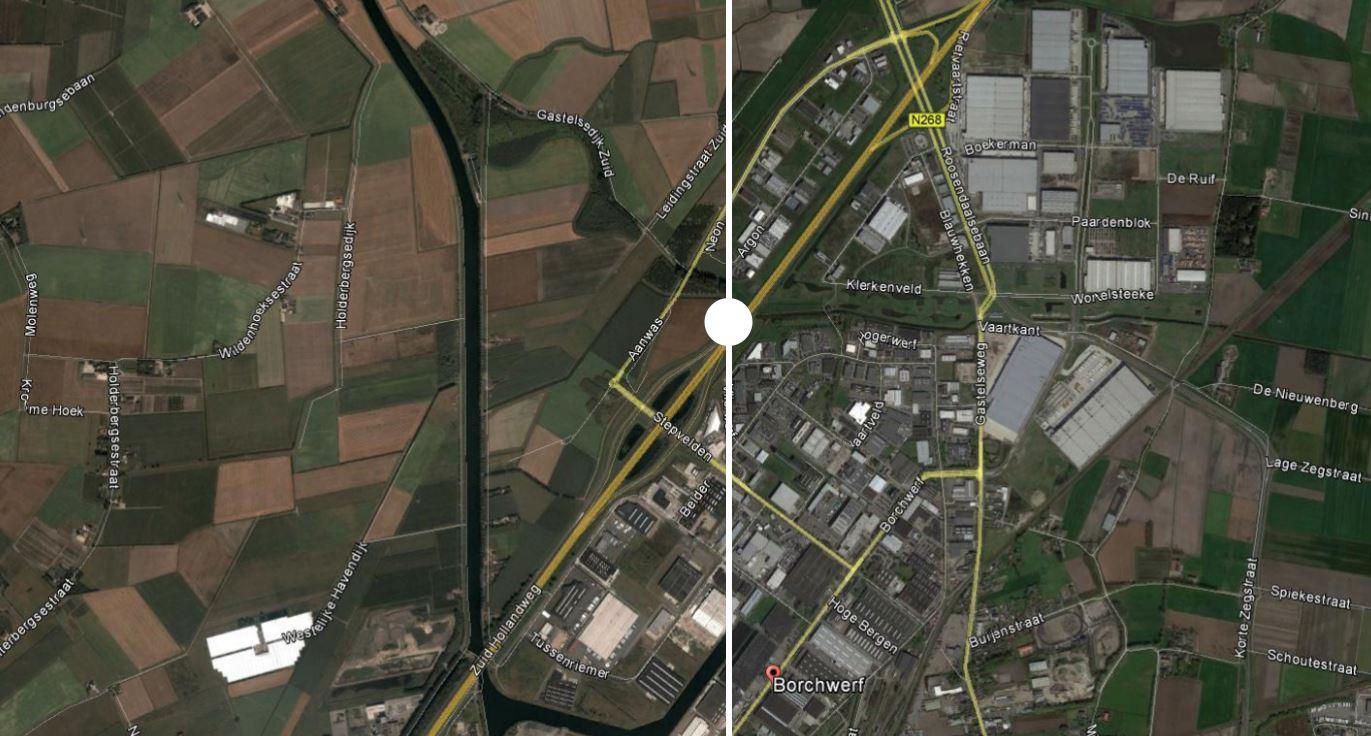 Industrieterrein Borchwerf in Roosendaal is in de loop der jaren flink veranderd.