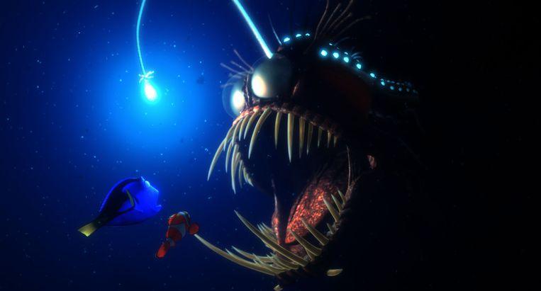 De zwarte hengelaarsvis uit Finding Nemo. Beeld Screenshot
