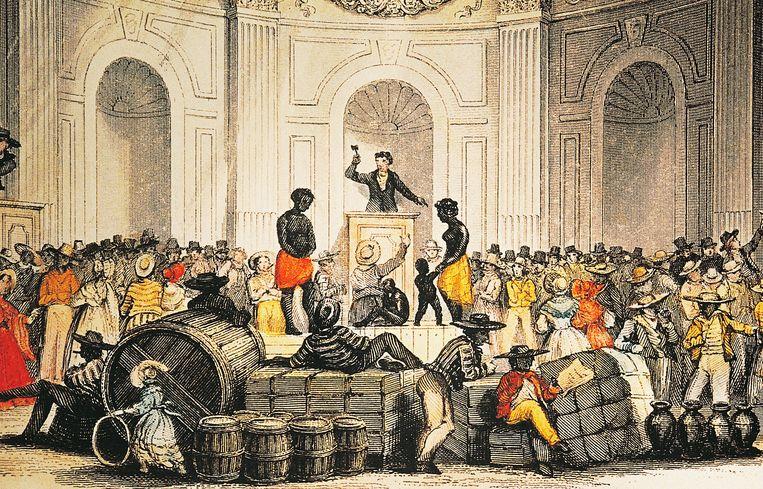 Een markt waar totslaafgemaakten worden verhandeld in Louisana in de 19de eeuw. Beeld Getty Images