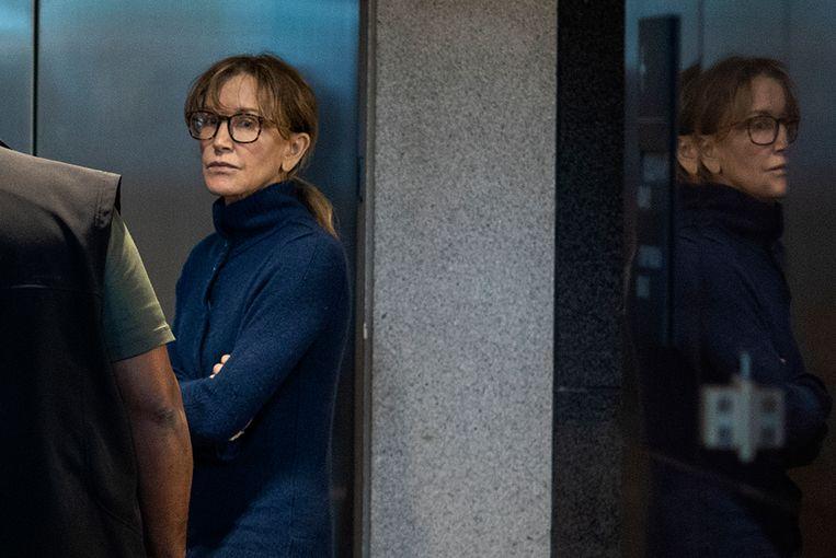Felicity Huffman in de rechtbank van Los Angeles, 13 maart 2019. Beeld AFP