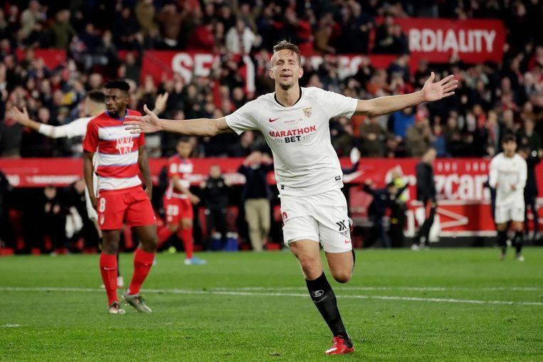 Luuk de Jong (Sevilla) speelt donderdag tegen Betis. Beeld BSR Agency