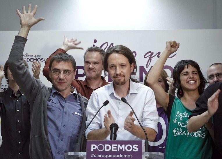 Podemos-partij viert de goede score.