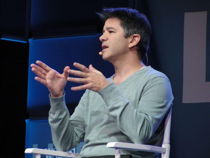 Oprichter en oud-CEO van Uber geeft een speech tijdens een technologieconferentie in Laguna Beach, Californië.