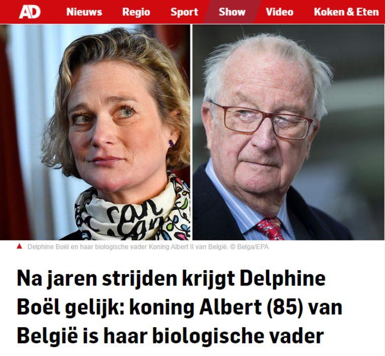 """Screenshot website AD.nl: """"Na jaren strijden krijgt Delphine Boël gelijk: koning Albert (85) van België is haar biologische vader."""