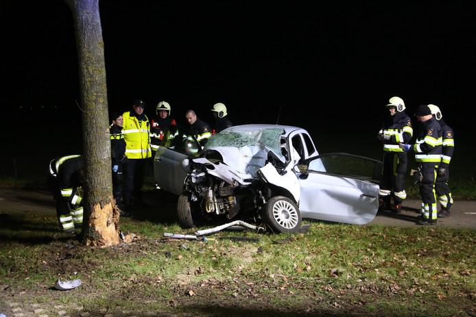 Op de Beerseweg in Mill reed een auto tegen een boom.