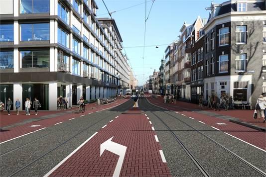 Artist impression van de toekomstige Vijzelstraat