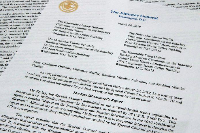 De brief van Justitieminister Barr aan het congres met de conclusies van speciaal onderzoeker Robert Mueller.