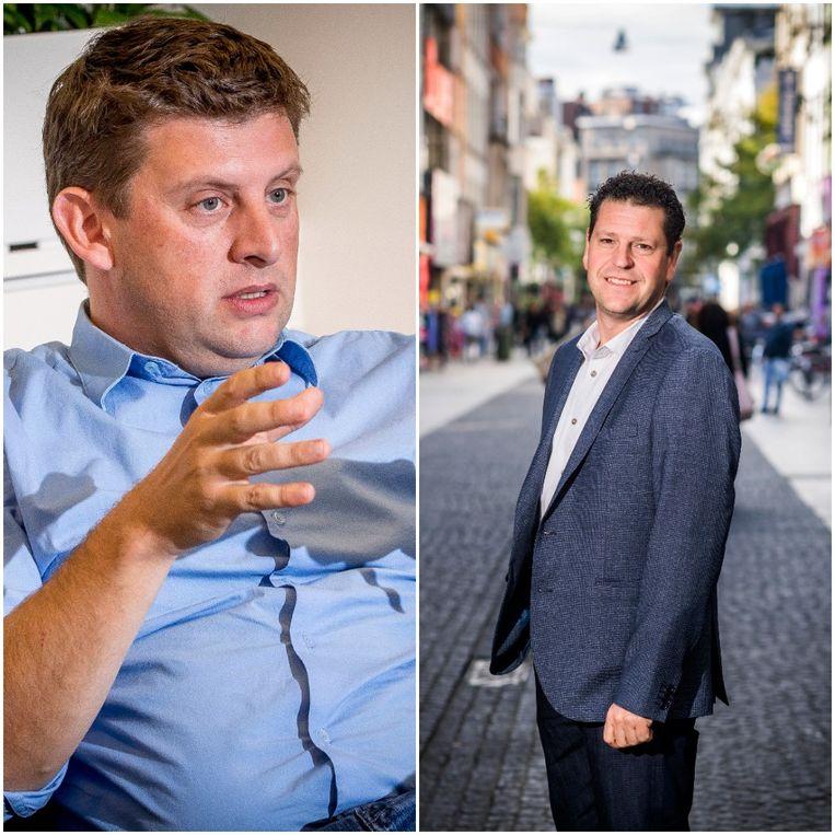 Sp.a-voorzitter John Crombez en Antwerps sp.a-kopstuk Tom Meeuws.