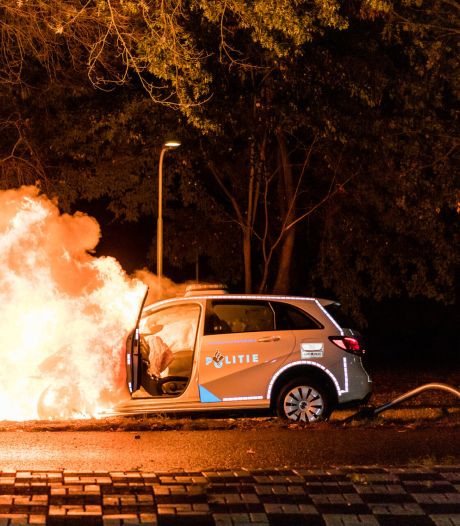 Politieauto vliegt in brand na botsing tegen boom in Tilburg, agente gewond
