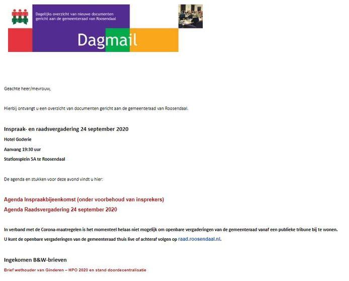 Voorbeeld van de Dagmail van de Roosendaalse griffie.