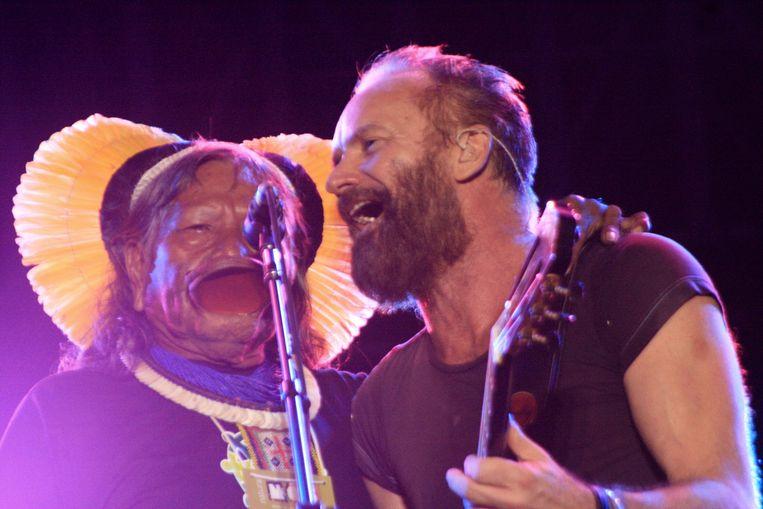 Raoni met Sting.