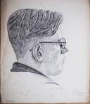 Meneer Holthaus, getekend door Bert Gorissen rond 1940