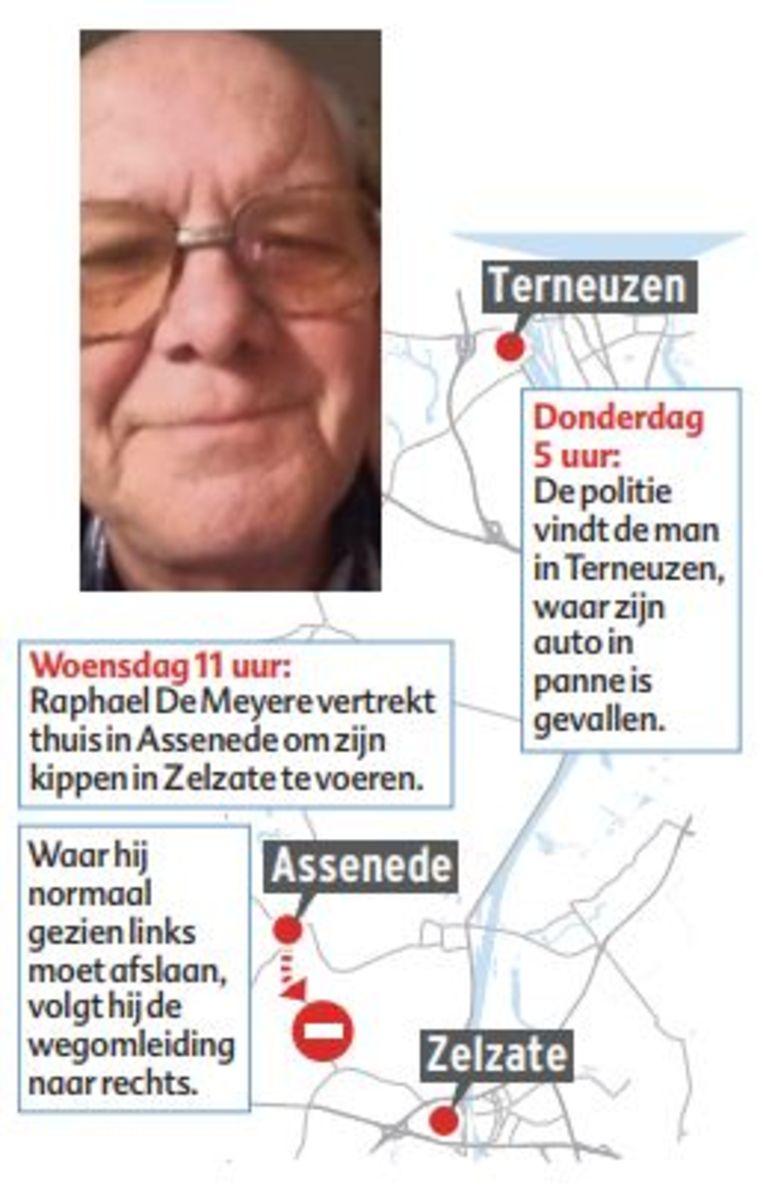 Raphael De Meyere werd pas om 5 uur 's morgens teruggevonden in Terneuzen.