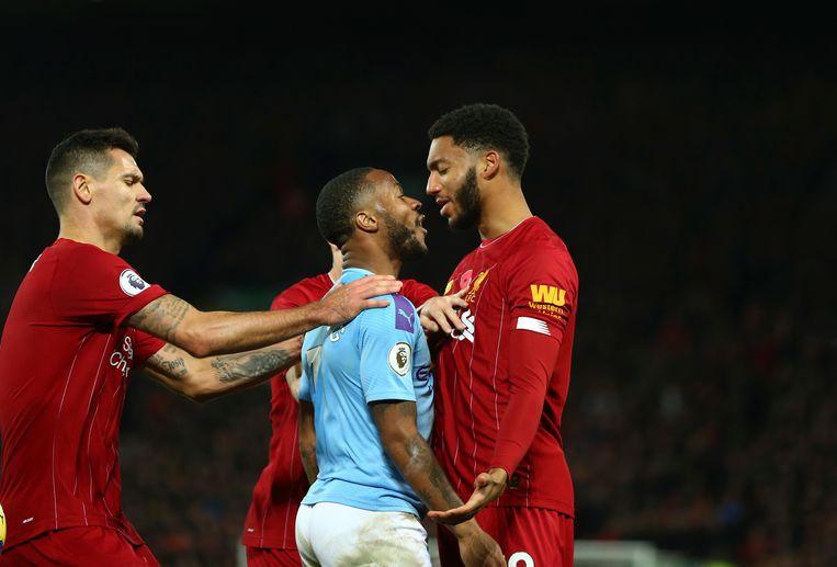 Raheem Sterling en Joe Gomez hadden het zondag al met elkaar aan de stek tijdens Liverpool - Manchester City (3-1).