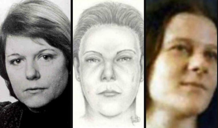 Centraal: een getekend portret van de vermoorde 'Miss Molly'. Links: Willemijntje van der Meer. Rechts: 'Ansje' Neeft.