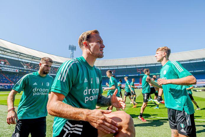 Mark Diemers tijdens de eerste training van Feyenoord voor het nieuwe seizoen.