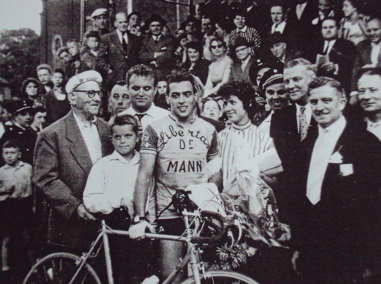 Willy Lauwers na een van zijn overwinningen.