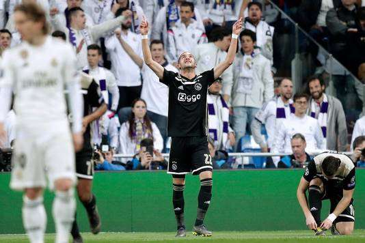 Hakim Ziyech na de 0-1 in Madrid.