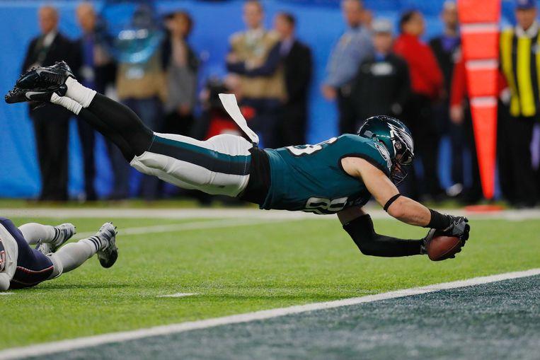 Zach Ertz van de Philadelphia Eagles in actie.